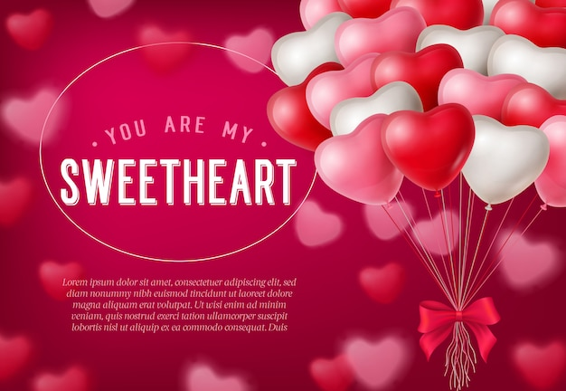You are my sweetheart lettering, bunch of heart shaped balloons