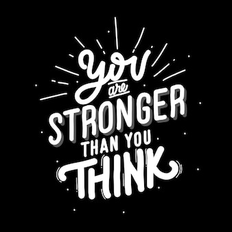 You are stronger than you think. quote lettering about cat.   illustration with hand-drawn lettering.