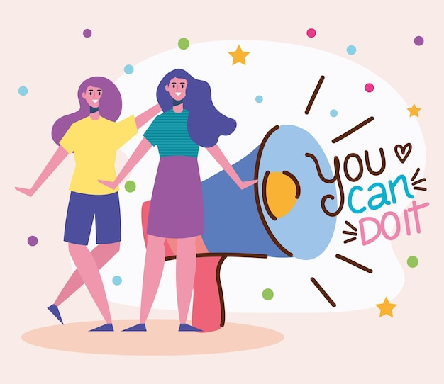 You can doit lettering with girls and megaphone  illustration