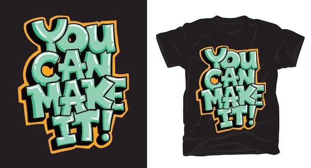 손으로 그린 글자 티셔츠 디자인을 만들 수 있습니다.