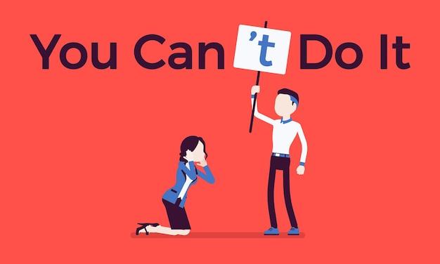 Вы не можете сделать это постером. мужчина исправляет положительную грамматическую конструкцию на отрицательное утверждение, чтобы подавить энтузиазм, босс недоверие к женщине. векторная иллюстрация, безликие персонажи