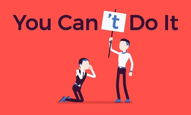 Вы не можете сделать это постером. человек исправляет положительную грамматическую конструкцию на отрицательное утверждение, чтобы подавить энтузиазм, уверенность и недоверие начальника. векторная иллюстрация, безликие персонажи