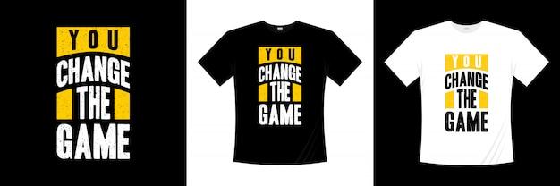ゲームのタイポグラフィtシャツのデザインを変更した
