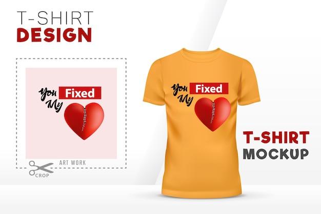 Вы установили дизайн шаблона для футболки с сердечком