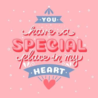 У тебя особое место в моей сердечной надписи