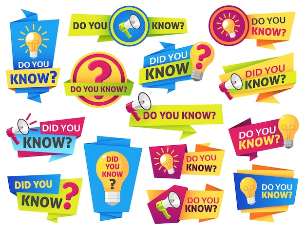 Do you know label sticker with did you know speech bubbles