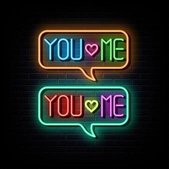 You love me neon text neon  symbol