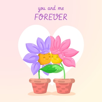 You and me forever flower couple valentine background