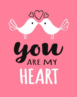 You and me lettering with kissing birds valentine day card