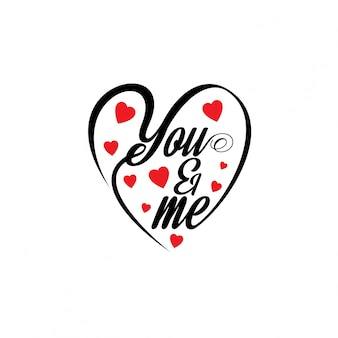 You and me with hearts stylish