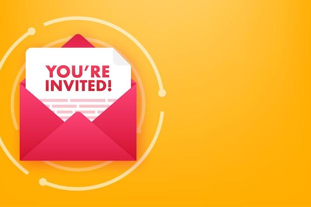 You re invited badge icon. written inside an envelope letter. vector illustration.