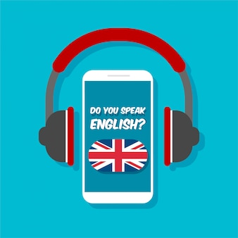 Do you speak english concept. online learning. smartphone with headphones front view. great britain flag on a phone display.