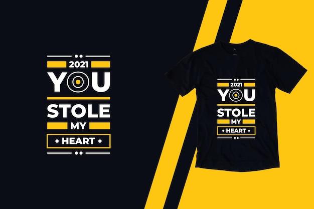 당신은 내 마음을 훔친 현대 따옴표 티셔츠 디자인