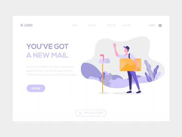 You've got a new mail web illustration