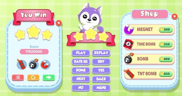 귀여운 고양이, 자석 및 폭탄 게임 아이콘으로 승리하고 상점 메뉴 팝업