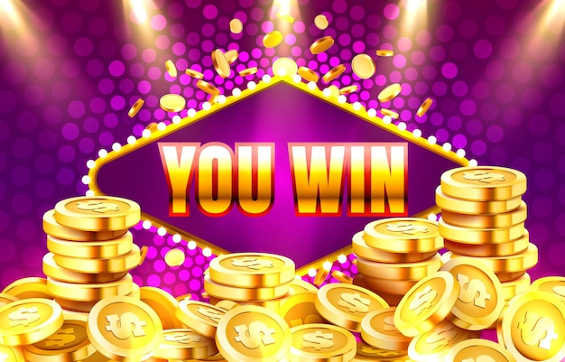 You win banner with golden coins