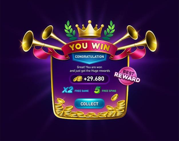Вы выигрываете игровой фон с монетами и экраном результатов с лентой