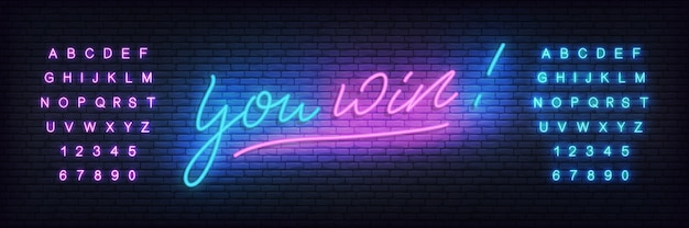 You win neon template. neon lettering banner you win for casino, gambling, online games