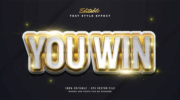 You win text in white and gold gradient with embossed and glossy effect