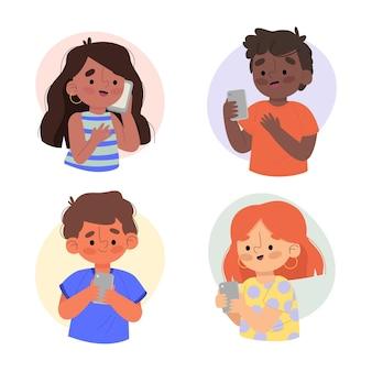 スマートフォンを使用している若い中毒者