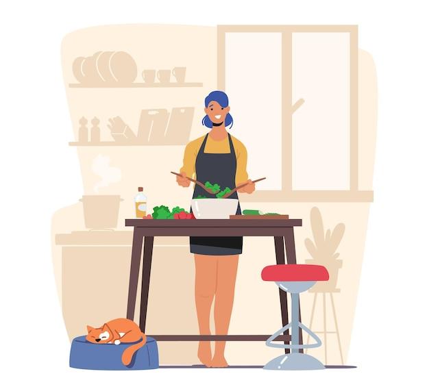 샐러드를 요리 하는 야채를 자르고 젊은 사랑 스러운 여자. 행복한 여성 캐릭터는 가정의 부엌에서 가족 저녁 식사, 여가 시간을 위해 맛있고 건강한 음식을 준비합니다. 만화 벡터 일러스트 레이 션