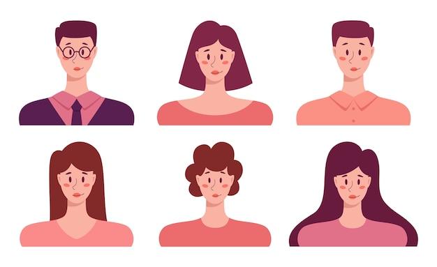 젊은 성인 사람들이 아바타 세트, 비즈니스 남성과 여성의 초상화 아이콘. 인간 캐릭터 컬렉션.