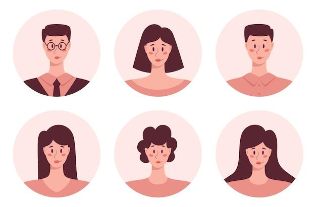 젊은 성인 사람들은 아바타 등, 비즈니스 남성과 여성의 초상화 아이콘 라운드. 인간 캐릭터 컬렉션.