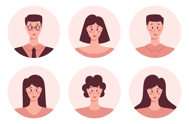 Young adult people round avatar et, business men and women portrait icons. human character collection.