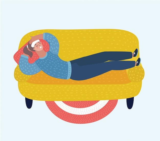 病気でソファーに横になっている若い大人の女性。病気の女性キャラクターが休んでいるか、ソファに横たえられています。