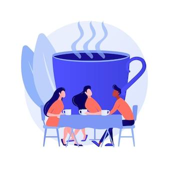 若い大人、仕事を休んでいる同僚。友達との出会い、同僚とのコミュニケーション、友好的な会話。コーヒーを飲んで話している人。ベクトル分離概念比喩イラスト