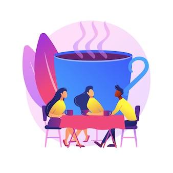 젊은 성인, 직장에서 휴식을 취하는 동료. 친구 모임, 동료 의사 소통, 친근한 대화. 커피를 마시고 이야기하는 사람들.