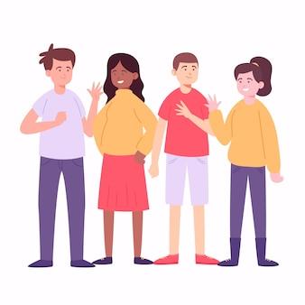 Молодые люди с красочной одеждой
