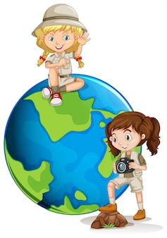 Young adventure girl sand earth