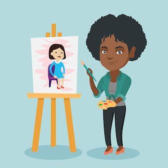 肖像画を描く若いアフリカ系アメリカ人アーティスト。