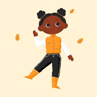 秋の服のイラストが秋の若いアフリカ系アメリカ人の女の子