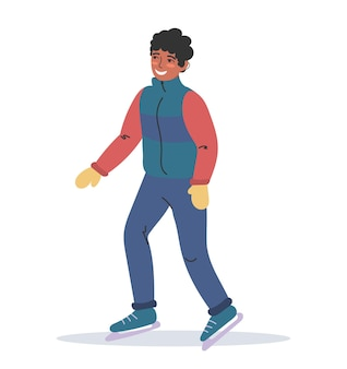 A young african-american is skating in warm winter clothes. winter sports. flat colorful illustration