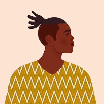 若いアフリカ系アメリカ人男性のイラスト