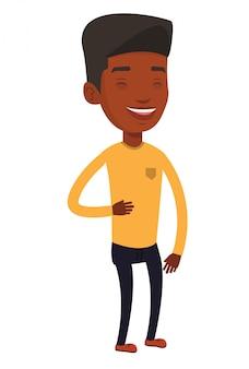 若いアフリカ系アメリカ人の男が笑っています。