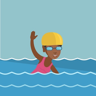 Young african-american sportswoman swimming.