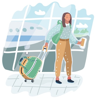 Young african american woman in airport. traveler with luggage on airplane background.   illustration of vacation. arrival in terminal. adult tourist in hat with bag walking to plane.