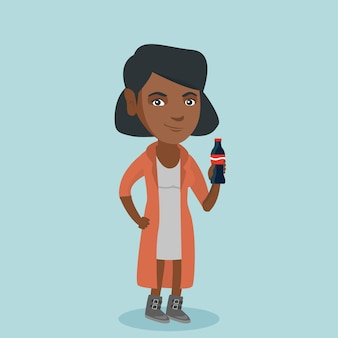 Young african-american woman drinking soda.