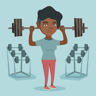 Young african-american woman lifting barbell.