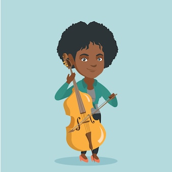 Young african-american woman playing the cello.