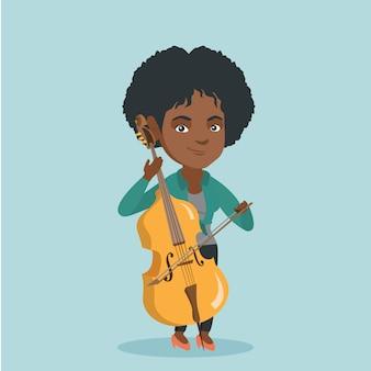 チェロを弾く若いアフリカ系アメリカ人女性。