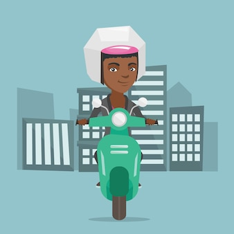 Young african-american woman riding a scooter.