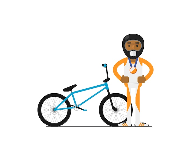 Young african bicyclist with bike