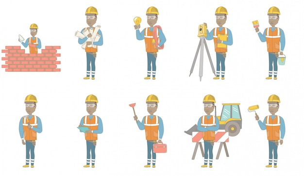 Набор символов молодой африканский строитель