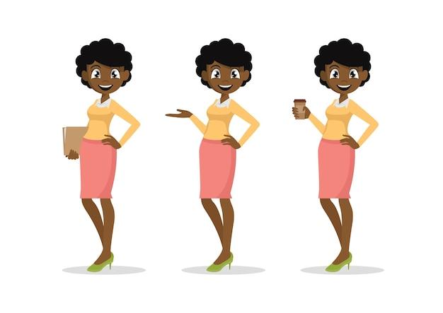 Young african businesswomen set.