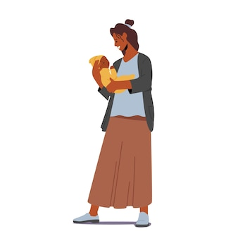 Young african female character holding newborn baby on hands, woman rock child, hug and singing song. maternity, mother care concept isolated on white background. cartoon people vector illustration