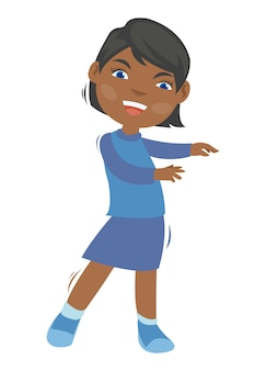 젊은 아프리카 소녀는 그의 몸을 흔들어 춤